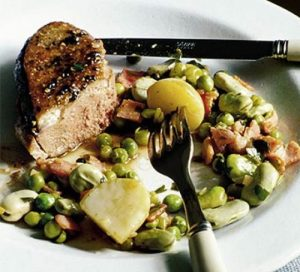 Duck with summer peas